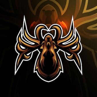 E-sport-design des kopfspinnen-maskottchen-logos