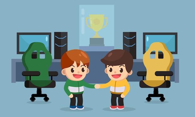 E-sport gamer hand schütteln vor dem wettbewerb, e-sport-business-konzept. vektor-illustration charakter