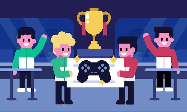 E-sport-konzept. profisieger-team auf einer e-sportarena-bühne. hand halten belohnung mit champion cup. vektor-zeichen-illustration