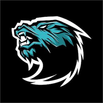 E sport logo blauer drache