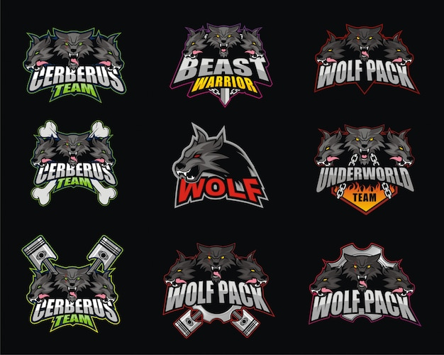 E-sport logo design bundle mit wolf-thema