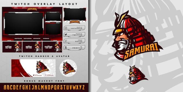 E-sport-logo und zuckende samurai-vorlage, perfekt für e-sport-team-maskottchen und game-streamer