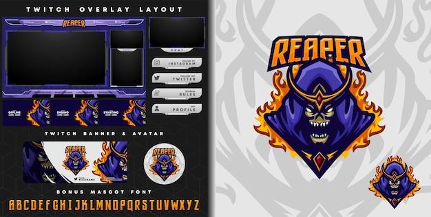E-sport-logo und zuckende schablone des schnitter mit krone, perfekt für e-sport-team-maskottchen und game-streamer