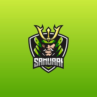 E sport logo vorlage mit samurai