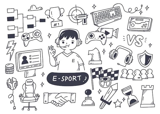 E-sport meisterschaft doodle set illustration