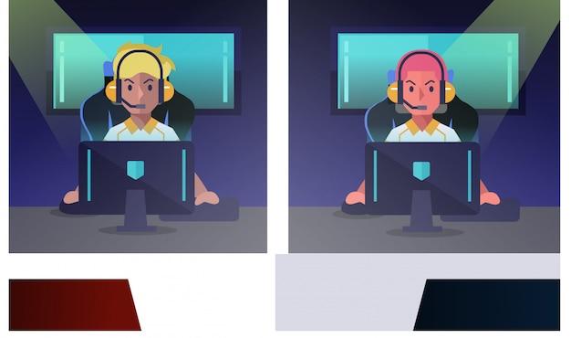 E-sportgamer, der in konkurrenzfähigem videospiel spielt