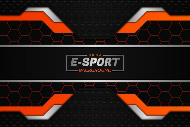 E-sports hintergrund im dunklen und orangefarbenen stil
