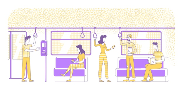 E-tickets kaufen silhouette illustration. leute im vorstädtischen elektrischen zug umreißen zeichen auf weißem hintergrund. nfc tech, elektronischer bargeldloser zahlungsservice einfache zeichnung