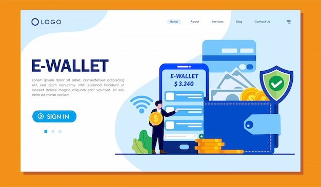 E-wallet landing page website illustrationsvorlage