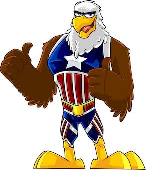 Eagle bird super hero zeichentrickfigur zeigt daumen hoch. illustration isoliert auf weißem hintergrund