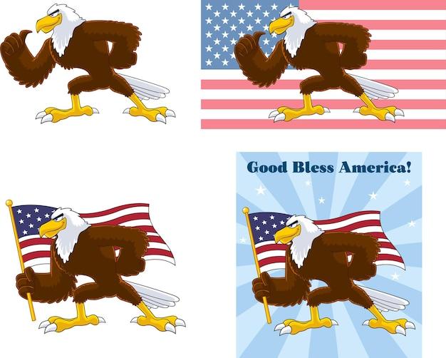 Eagle bird zeichentrickfigur. sammlungsset isoliert