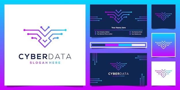 Eagle cyber tech logo design und visitenkarte