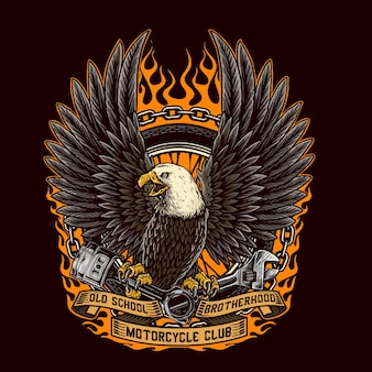 Eagle hält den kolben und den schraubenschlüssel und den reifen eines benutzerdefinierten motorrads
