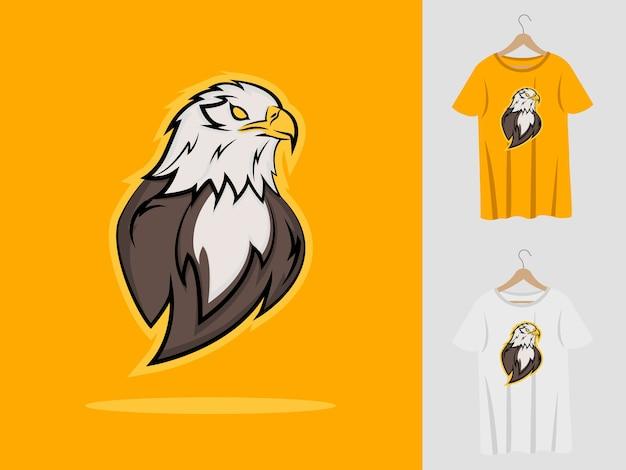 Eagle logo maskottchen design mit t-shirt. adlerkopfillustration für sportmannschaft und bedruckendes t-shirt