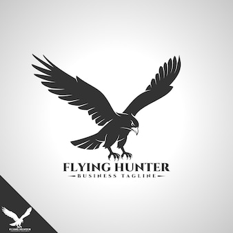 Eagle logo mit flying hunter designkonzept Premium Vektoren