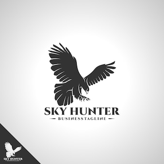 Eagle logo mit sky hunter designkonzept