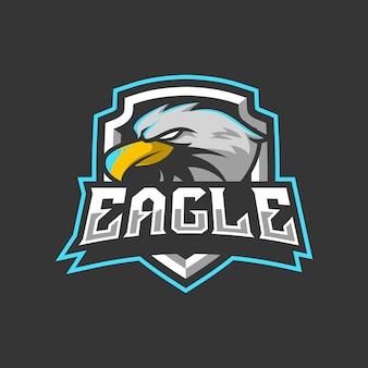 Eagle maskottchen logo design illustration für sport oder e-sport-team
