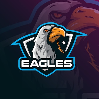 Eagle-maskottchenlogo-designvektor mit moderner illustrationskonzeptart für ausweis-, emblem- und t-shirt druck.