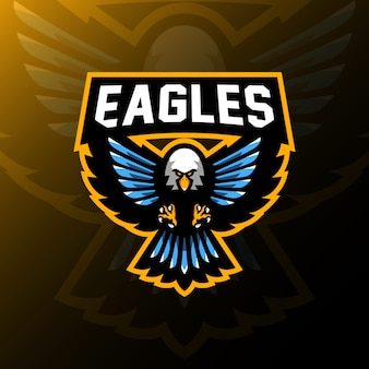 Eagle-maskottchenlogo-spielesportillustration