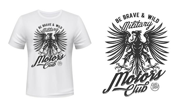 Eagle motors club t-shirt-druck, emblem der militärabteilung. schwarzer gotischer adler mit zungen- und flügelzeichen
