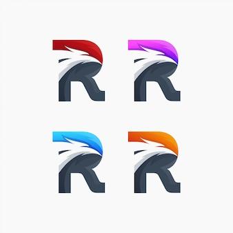 Eagle r logo kreative flügelfliege phoenix