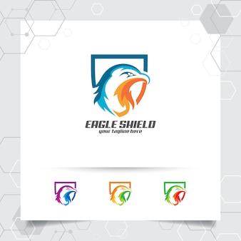 Eagle-schildlogo-vektordesign mit konzept der sicherheits- und adlerkopfikone.