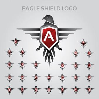 Eagle shield logo mit alphabet-buchstabensatz