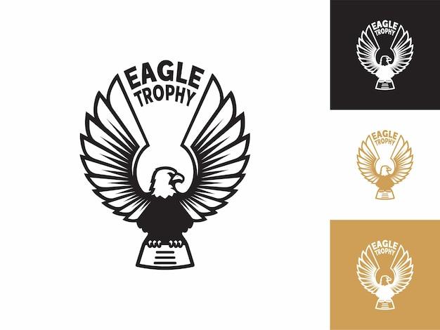 Eagle trophy logo, emblem design editierbar für ihre business-kleidung fahrrad motorrad