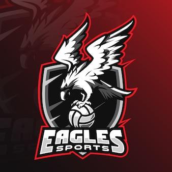 Eaglemascot-logoentwurf mit moderner illustrationskonzeptart für ausweis-, emblem- und t-shirt druck.