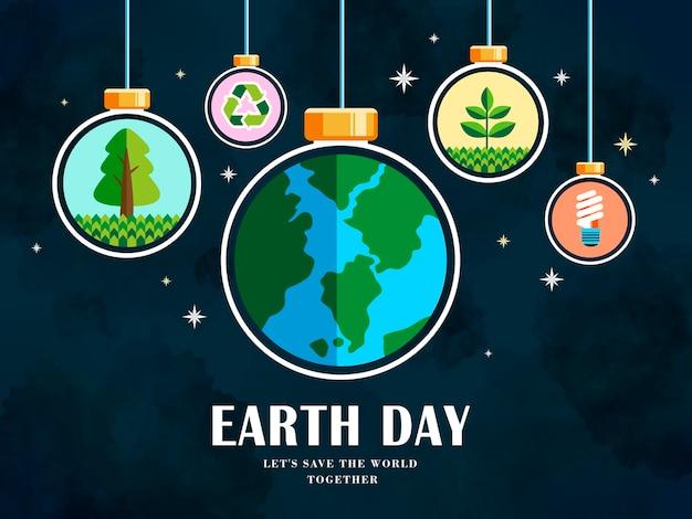 Earth day illustration mit erde, recycling, pflanzen- und energiesymbolen, nachthimmelhintergrund