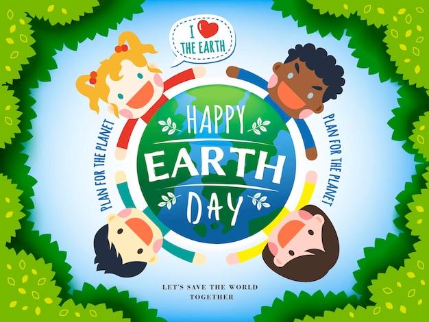 Earth day illustration mit vier kindern, die eine erde, blätter und hellblauen hintergrund umgeben surrounding