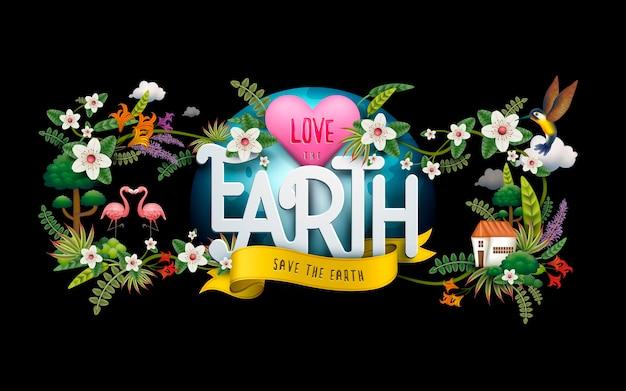 Earth day illustration, mit vögeln, blumen und unzähligen pflanzen, schwarzer hintergrund