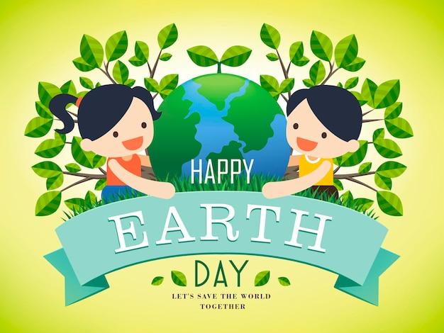Earth day illustration mit zwei kindern, die eine erde halten, hellgrüner hintergrund