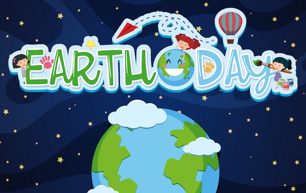 Earthday-plakatdesign mit kindern und erde