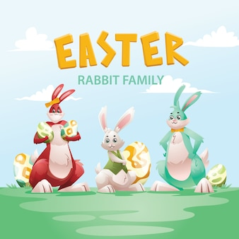 Easter day rabbit family character collection