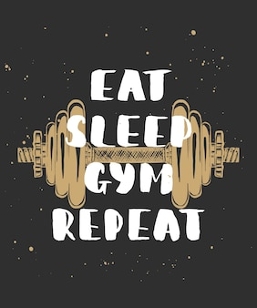 Eat sleep gym wiederholung mit skizze der hantel handgeschriebener schriftzug