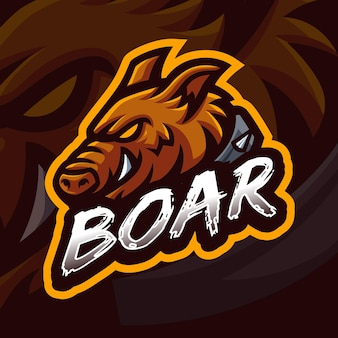 Eber maskottchen gaming logo vorlage für esports streamer facebook youtube