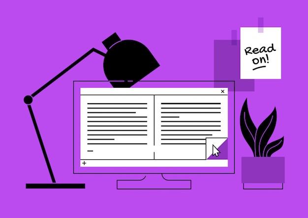 Ebook auf einer computerkonzeptillustration