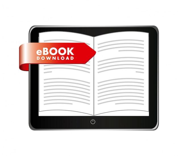 Ebook design über weißer hintergrundvektorillustration