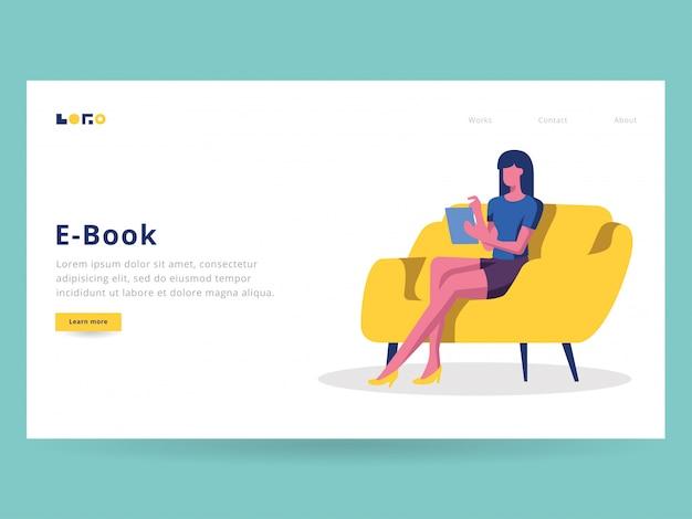 Ebook illustration für landing page lesen