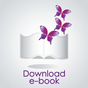 Ebook-konzept mit schmetterling herunterladen vektor-illustrator