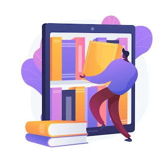 Ebooks sammlung. bibliotheksarchiv, e-reading, literatur. männliche zeichentrickfigur, die bücher im ereader lädt. mann, der romane in umschlägen auf bücherregal setzt.