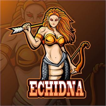 Echidna maskottchen esport logo design.