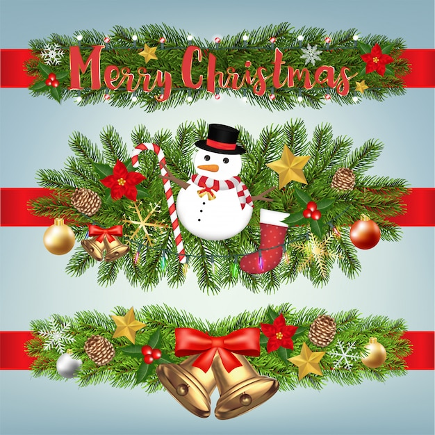 Echte frohe weihnachten festliche dekoration banner set