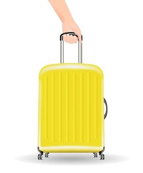 Echte gelbe reisetasche mit hand