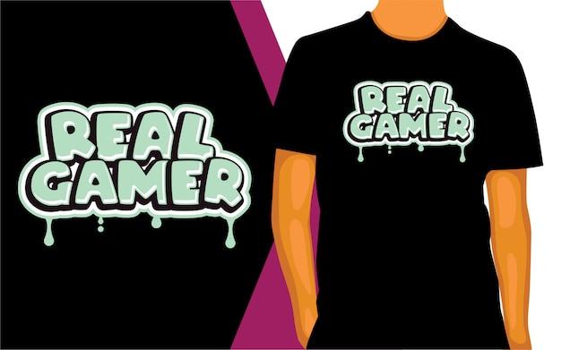 Echtes gamer-schriftzugdesign für t-shirt