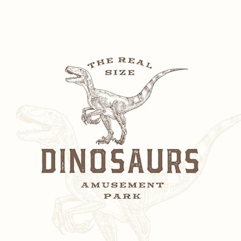 Echtes größe dinosaurier vergnügungspark abstrakte zeichen symbol oder logo