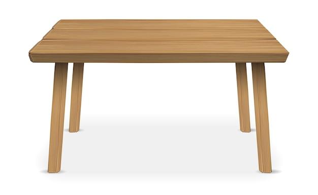 Echtholztisch auf einem weißen hintergrund