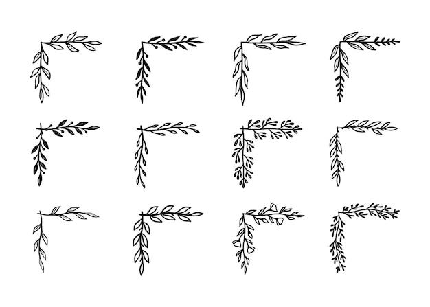 Ecke gedeihen grenzsatz. handgezeichnete doodle-stil-ecke mit rustikalem blumenelement. vektorillustrationsgrenze.