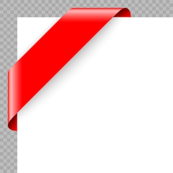 Eckfarbband oder fahne auf weißem hintergrund.